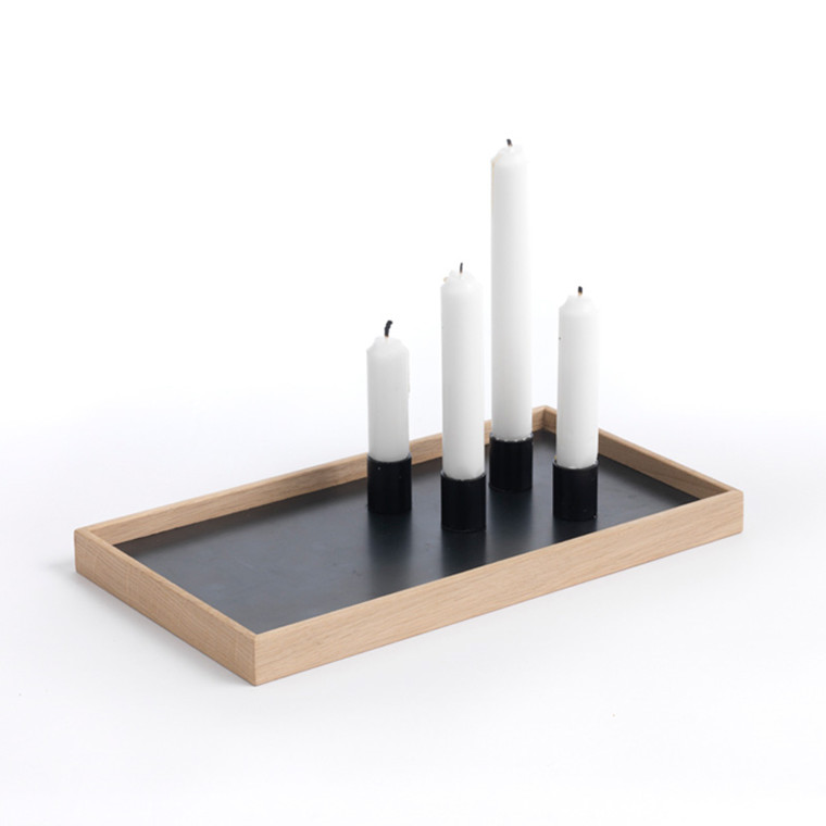 The Oak Men Candle Tray Oak/Black