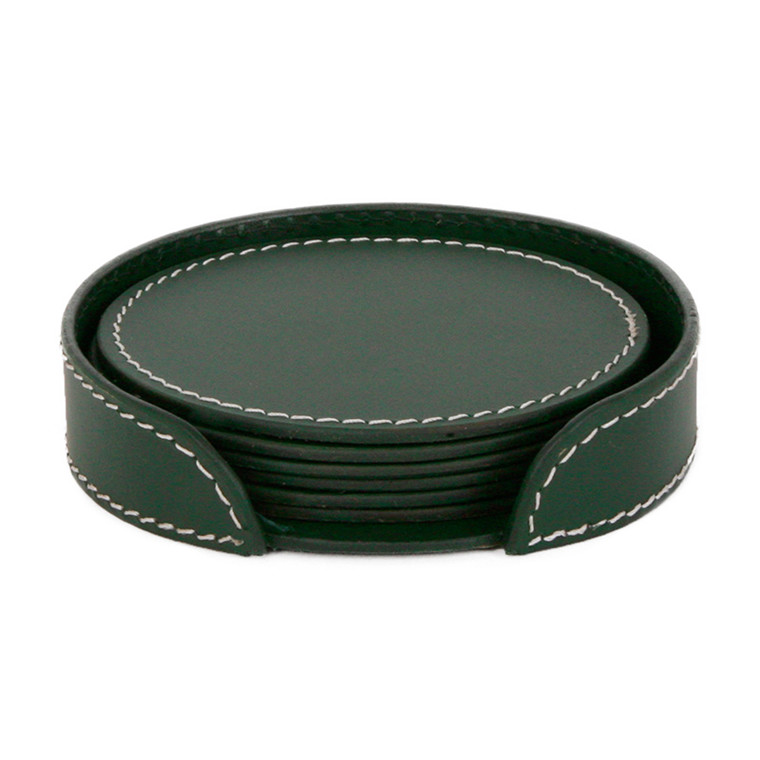 Ørskov & Co. Leather Coasters Round Dark Green