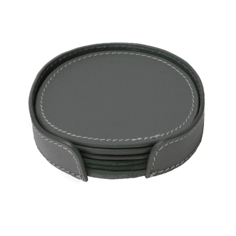 Ørskov & Co. Leather Coasters Round Dark Grey