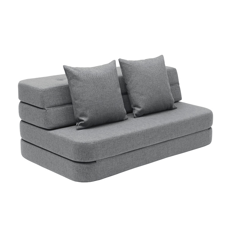 By KlipKlap 3 Fold Sofa XL Soft Blue Grey W. Grey