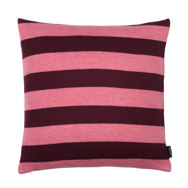 Louise Roe Wide Stripe Cushion Dusty Pink/Bordeaux