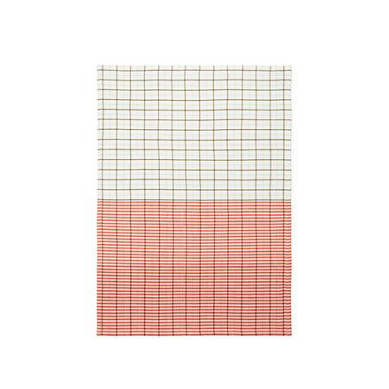 Normann Cph Ren Tea Towel Stripe Grid Pale Green/Spicy Orange