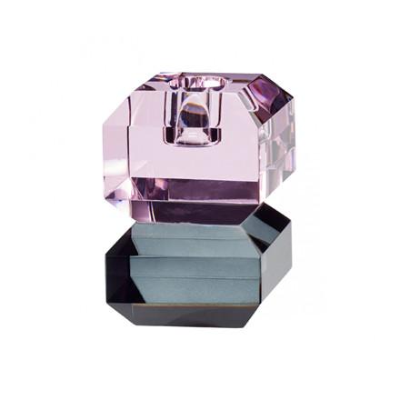 Hübsch Lysestage Glas Pink/Røget