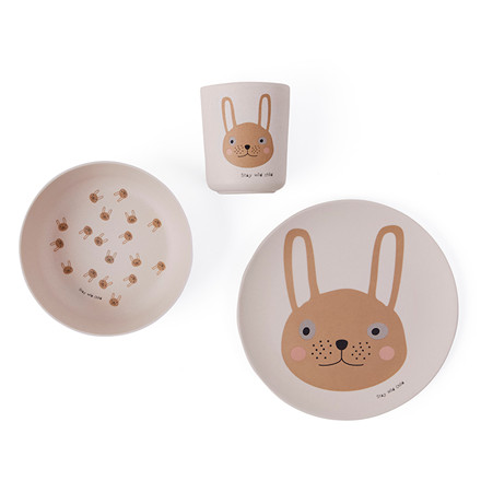 OYOY Rabbit Bamboo Tableware Set Rose