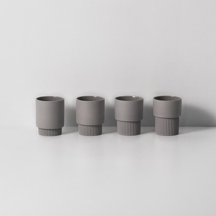 Ferm Living Groove Cups Grey