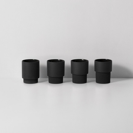 Ferm Living Groove Cups Dark Grey