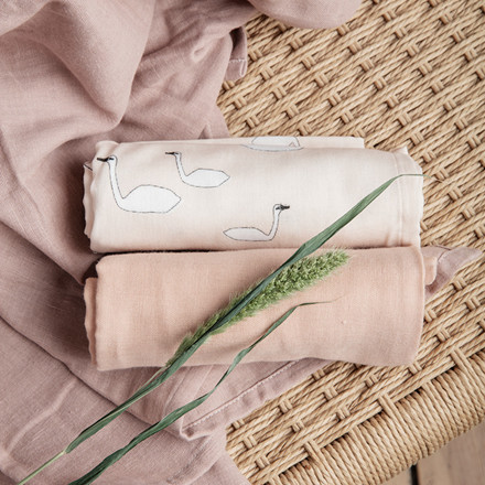 Ferm Living Muslin Squares Swan Rose