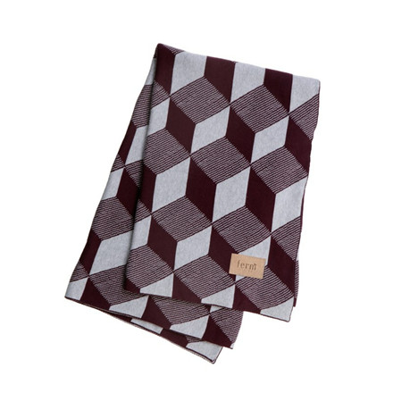 Ferm Living Squares Blanket Bordeaux