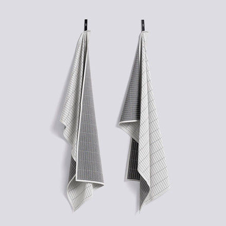 HAY Dash Grid Tea Towel Set Grey