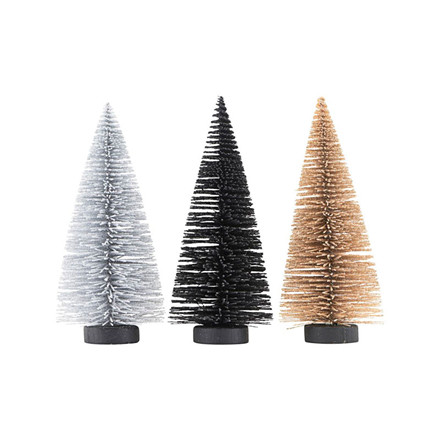 House Doctor Juletræ 3-pak sort/guld/sølv