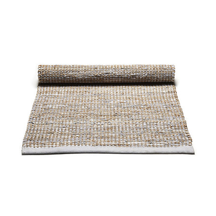 Rug Solid Smooth Grey Jute Rug Large