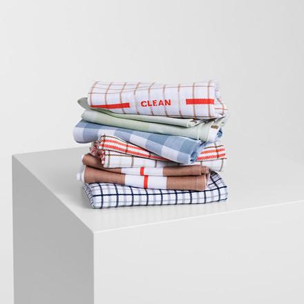 Normann Cph Ren Tea Towel Double Grid Dark Blue/Cool Grey