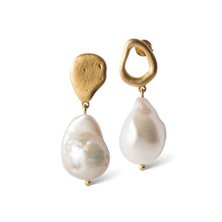 Enamel Copenhagen Baroque Pearl Earrings Gold-Plated