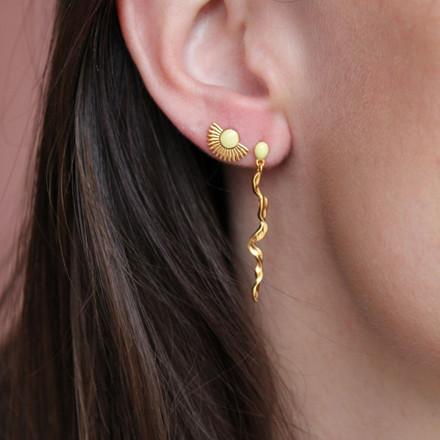 Enamel Copenhagen Muna Light Yellow Earrings Gold-Plated
