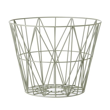Ferm Living Wire Basket Støvet Grøn