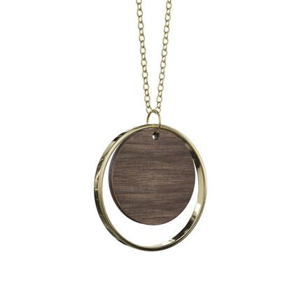 Grundled Adverbium Necklace Dark Wood/Gold