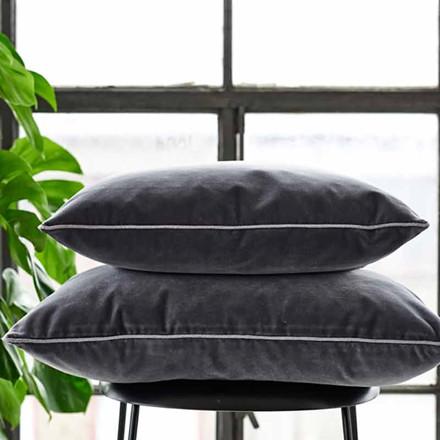 Semibasic LUSH Velour Cushion Dark Grey 45 x 45