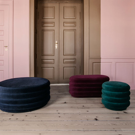 Ferm Living Pouf Round Bordeaux Large