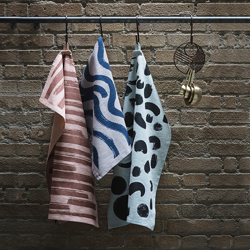 Ferm Living Brush Tea Towels Multi
