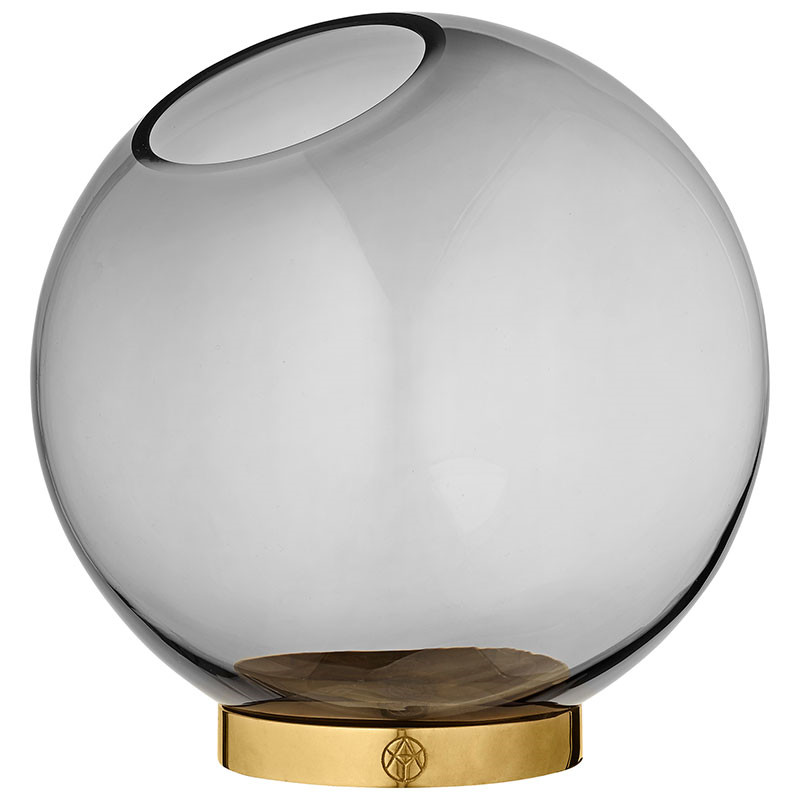 Image of   AYTM Globe Vase Black/Gold Ø 21 cm