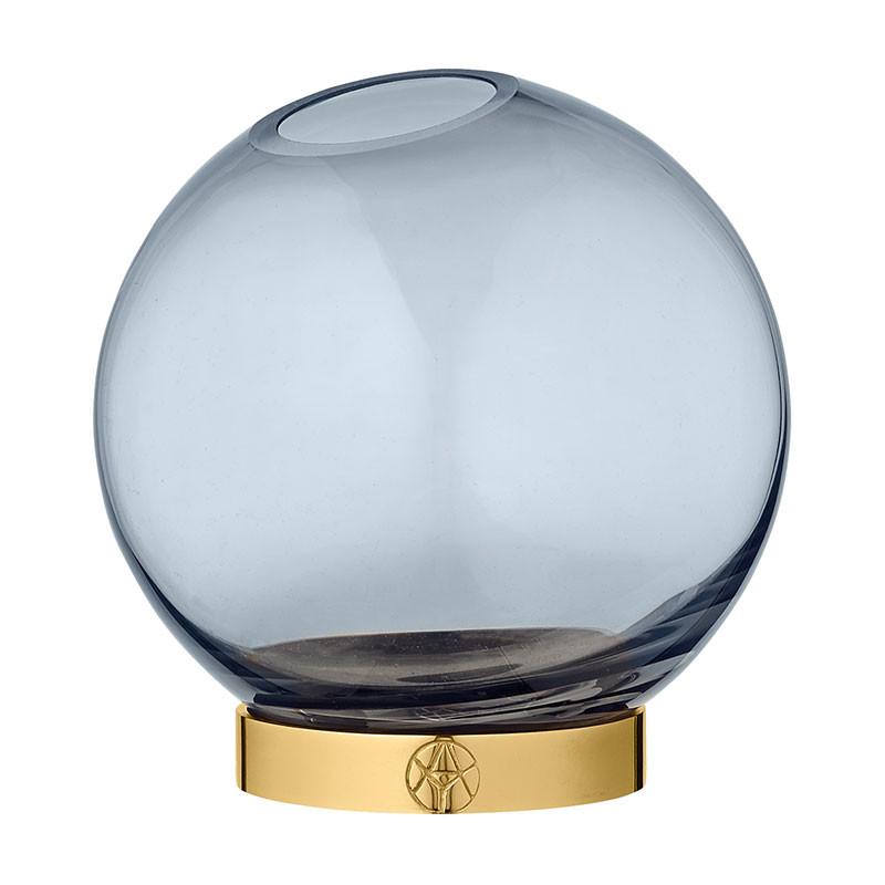 Image of   AYTM Globe Vase Navy/Gold Ø 10 cm