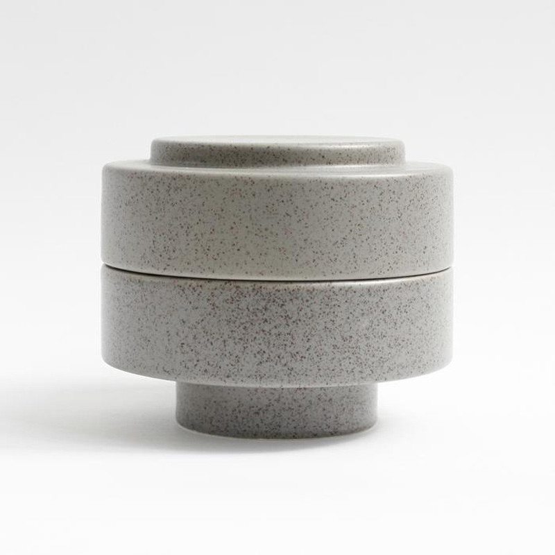 Image of   Ania KAREN Jar With Lid Light Grey Dots