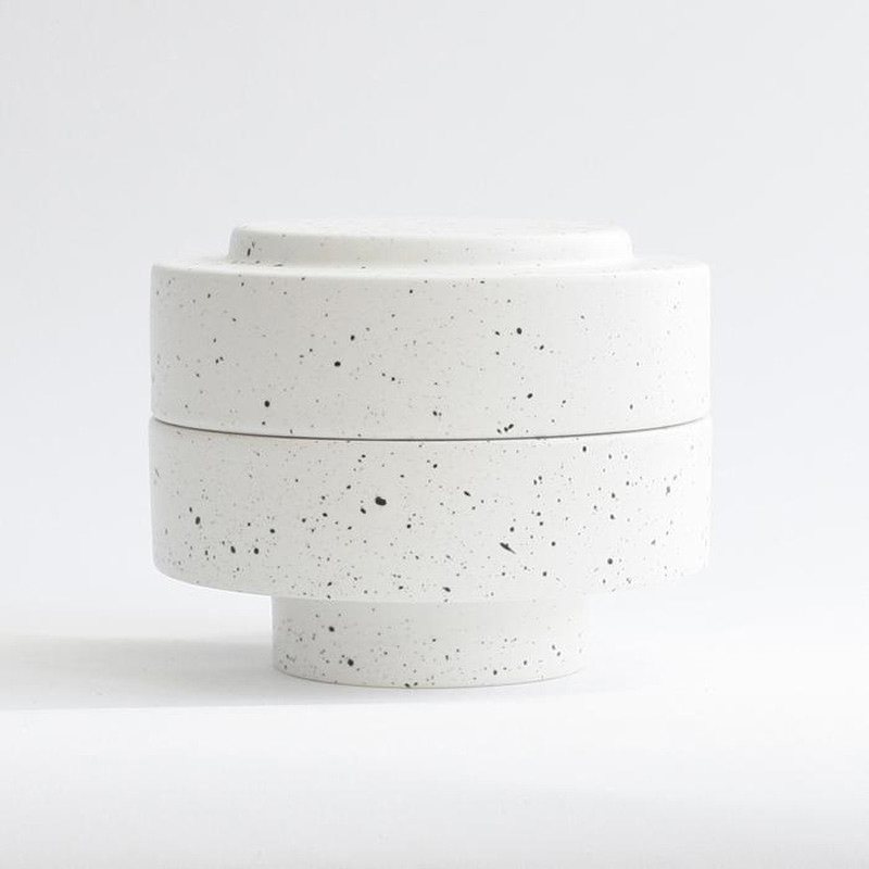 Image of   Ania KAREN Jar With Lid White Dots