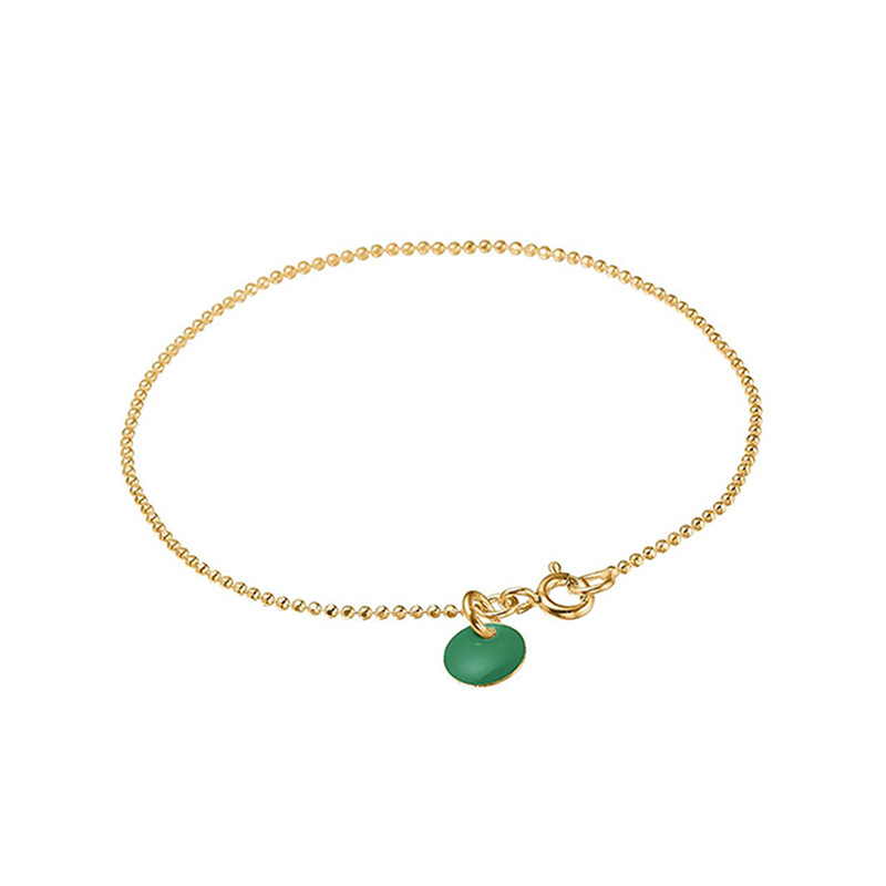 Image of   Enamel Copenhagen Ball Chain Bracelet Petrol Green Gold-Plated