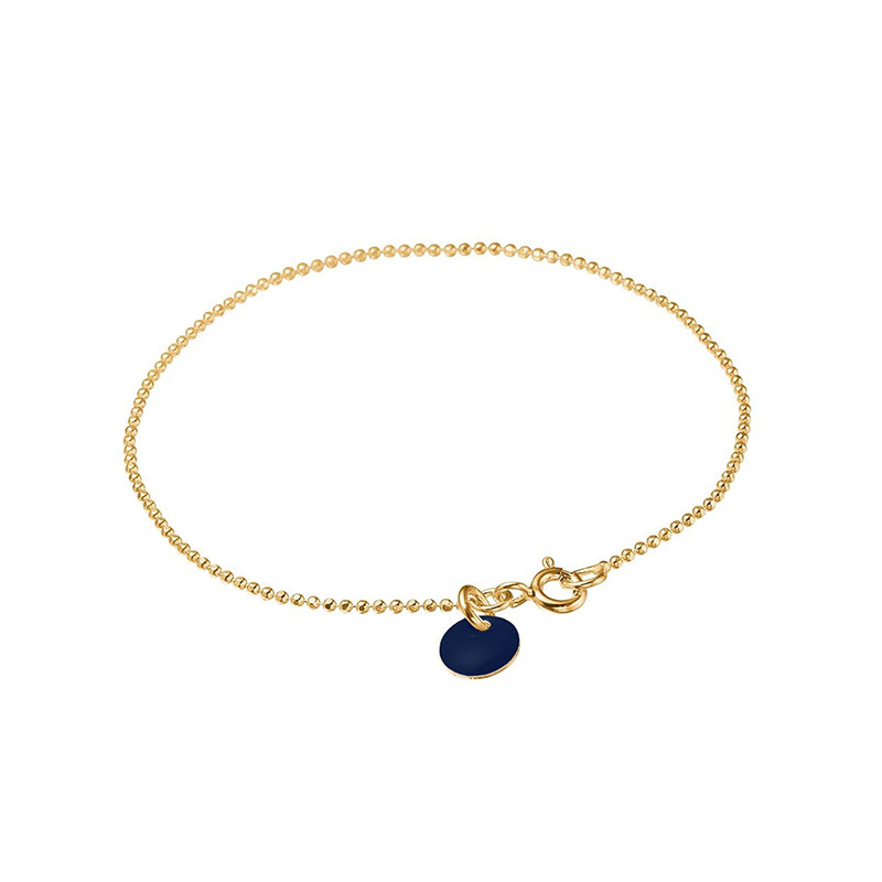 Image of   Enamel Copenhagen Ball Chain Bracelet Midnight Gold-Plated