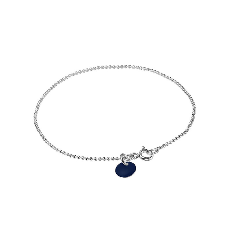 Image of   Enamel Copenhagen Ball Chain Bracelet Midnight Silver