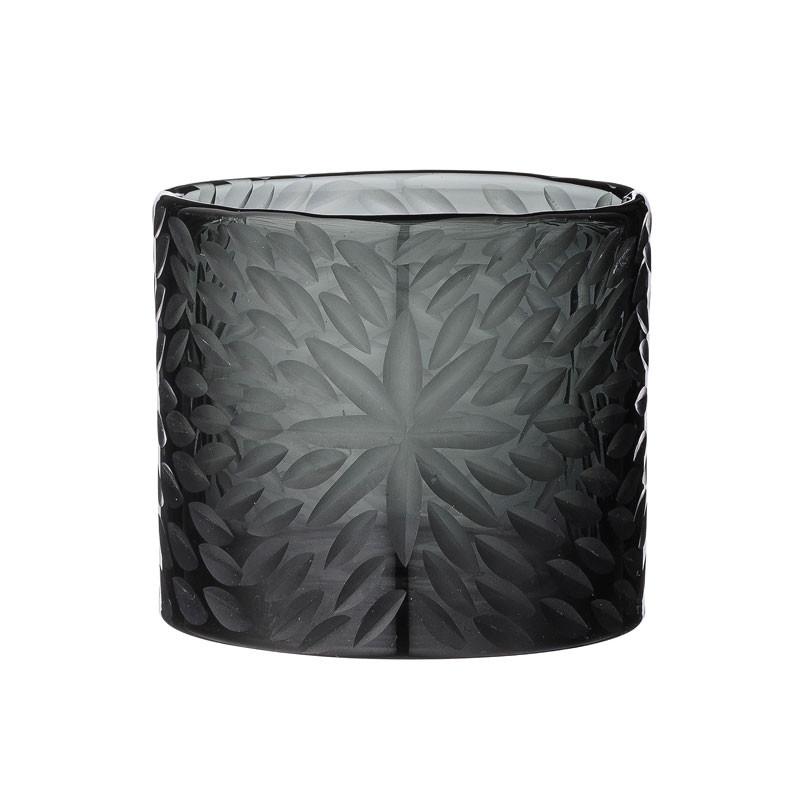 Image of   DAY Home Håndskåret Blomster Glasstage Black