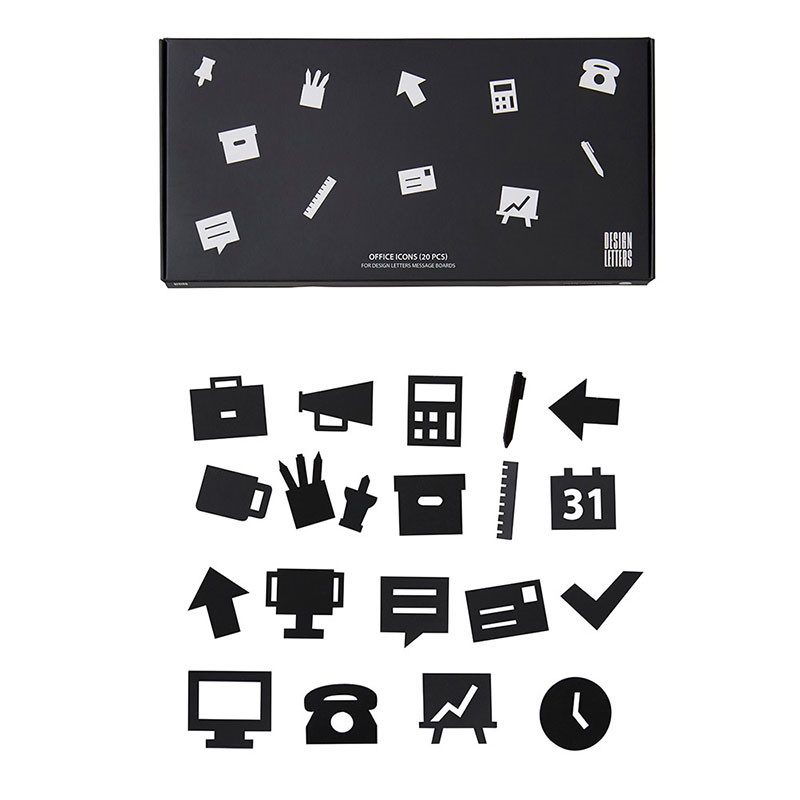 Design letters office icons for message board black