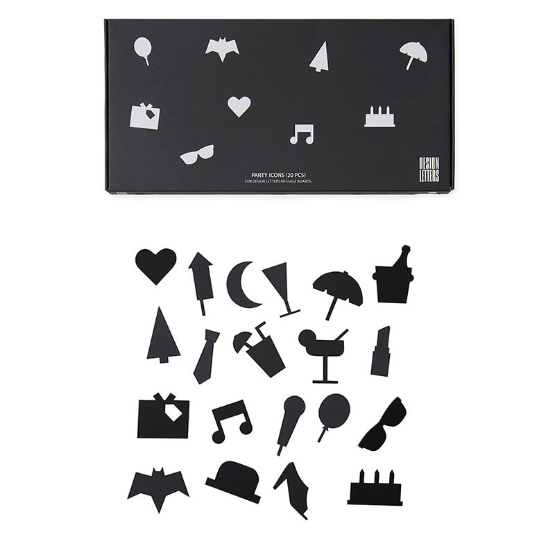 Image of   Design Letters Party Icons For Message Board Black