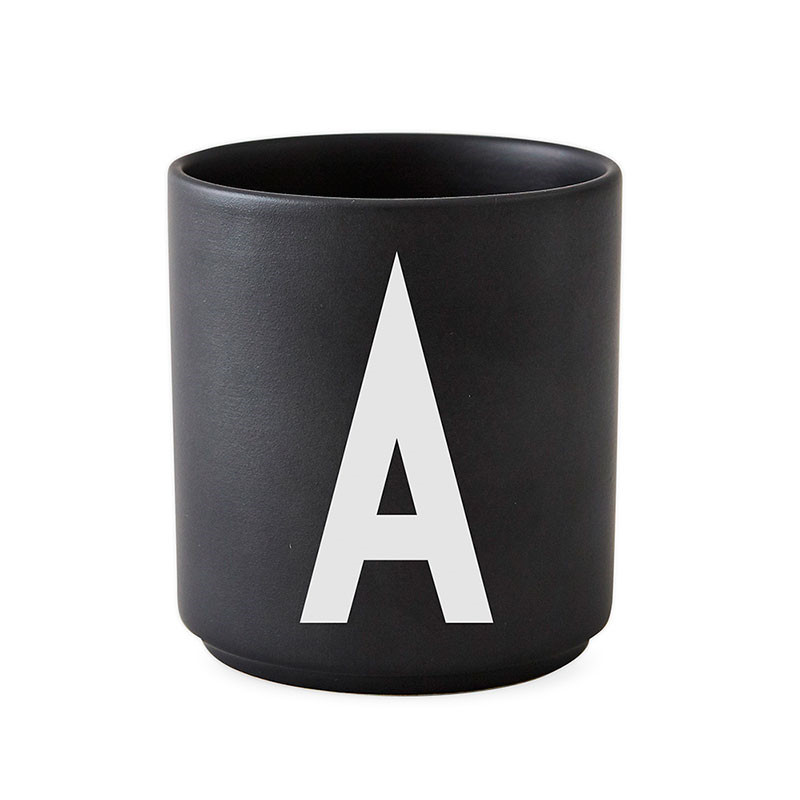 Image of   Design Letters Porcelain Cup A-Z Black