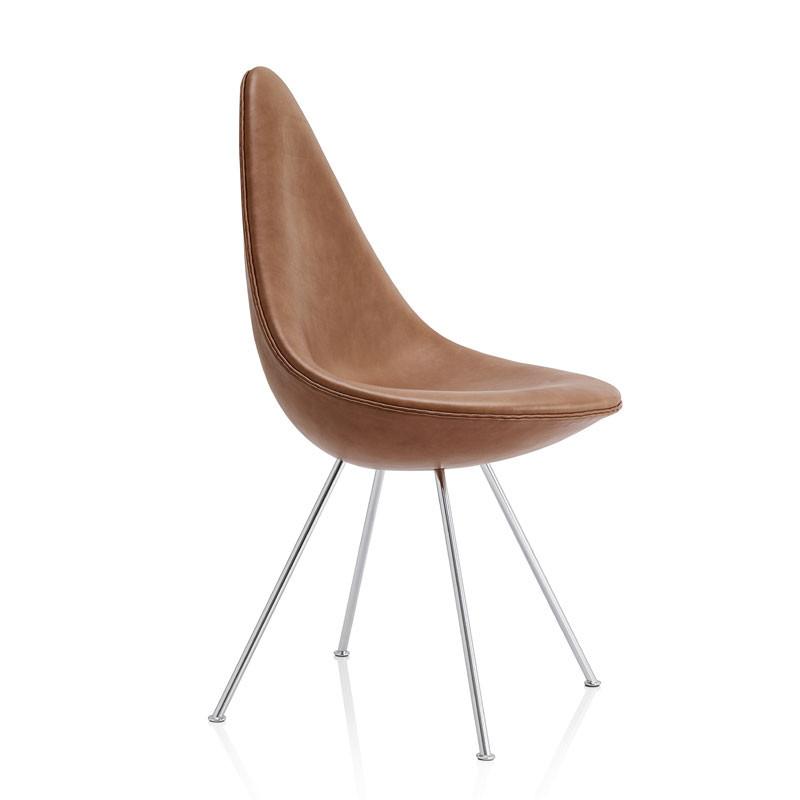 Image of   Fritz Hansen 3110 Drop Chair Fuldpolstret Læder