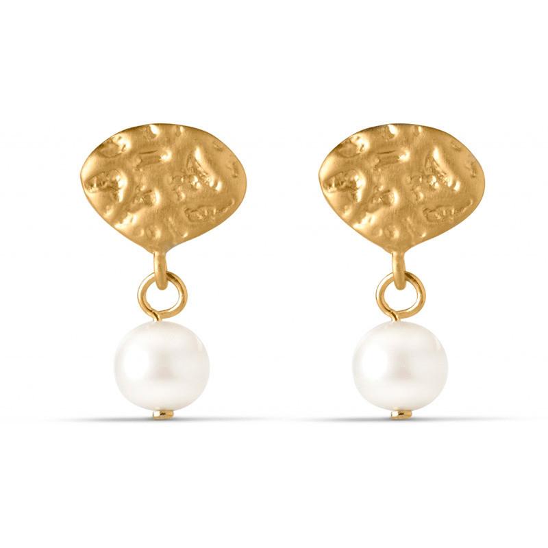Image of   Enamel Copenhagen Pearl Drop Earrings Gold-Plated
