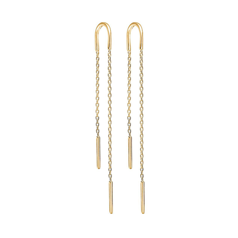 Image of   Enamel Copenhagen Hoop Chain Earrings Gold-Plated