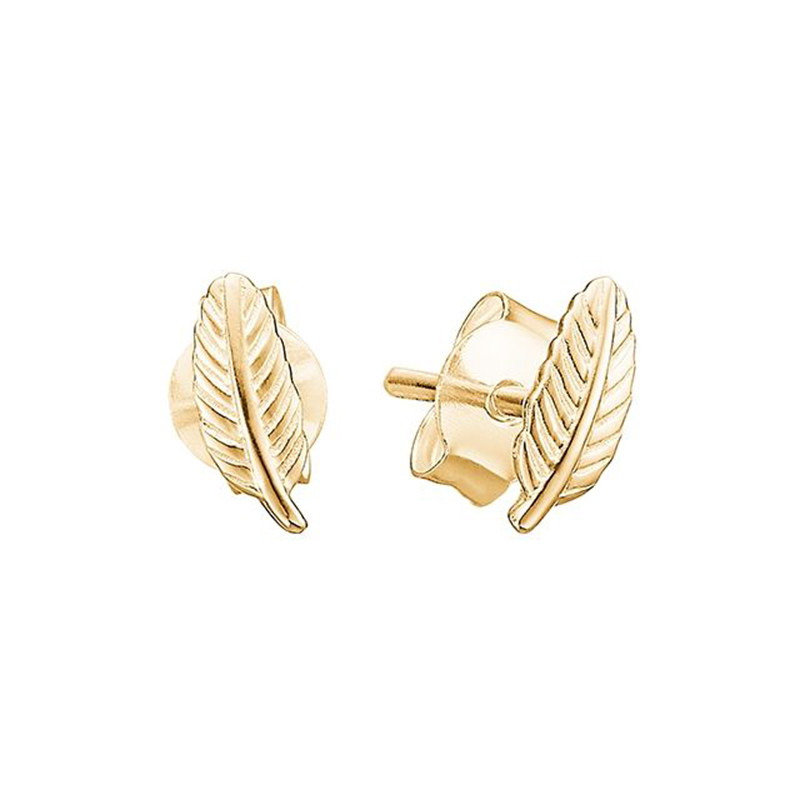 Image of   Enamel Copenhagen Leaf Studs Gold-Plated