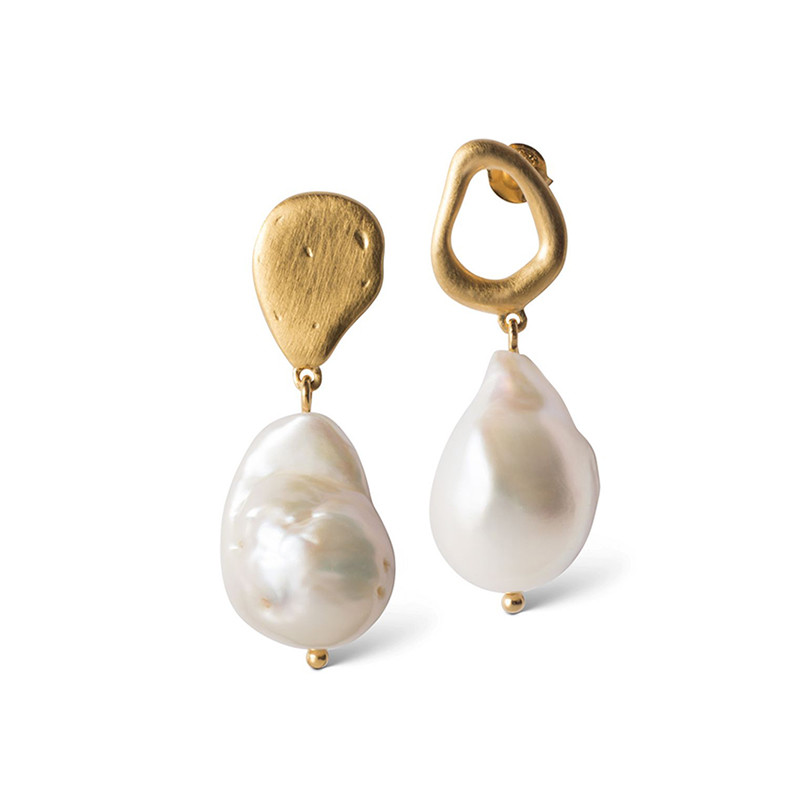 Image of   Enamel Copenhagen Baroque Pearl Earrings Gold-Plated