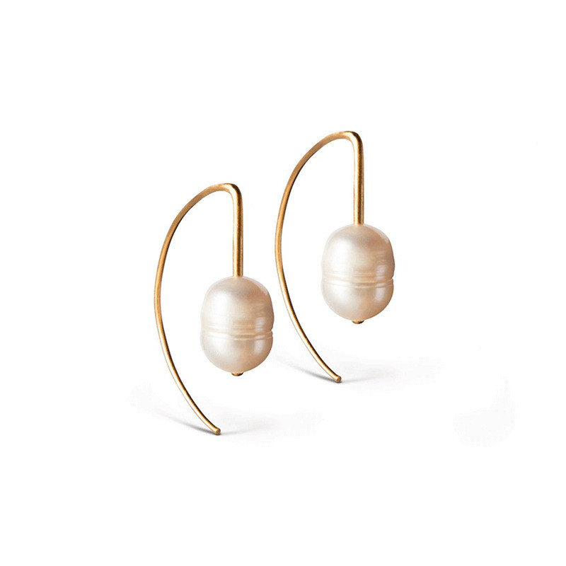 Image of   Enamel Copenhagen Edgy Pearl Earrings Gold-Plated