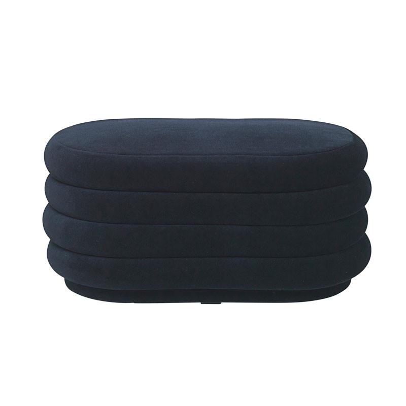 Ferm Living Pouf Oval Dark Blue Medium