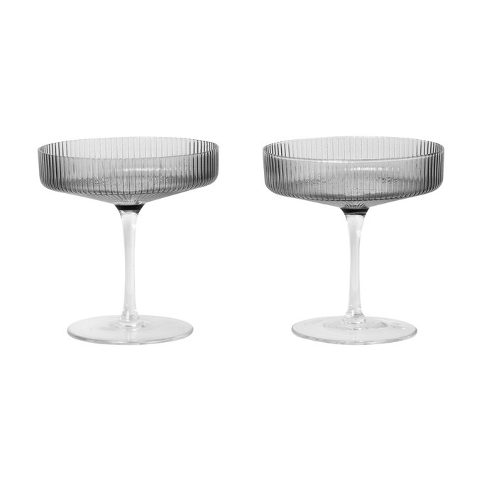 Image of   Ferm Living Ripple Champagne Saucers Smoked Grey