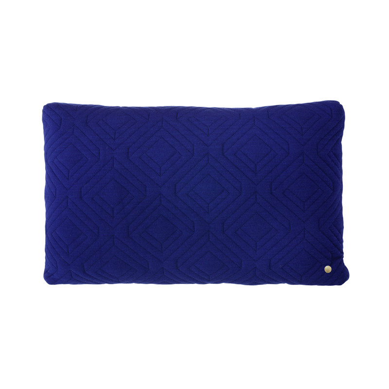 Image of   Ferm Living Quilt Cushion Dark Blue 60 x 40