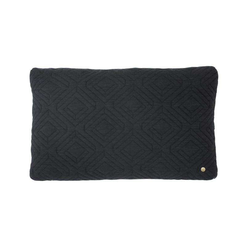 Image of   Ferm Living Quilt Cushion Dark Grey 60 x 40