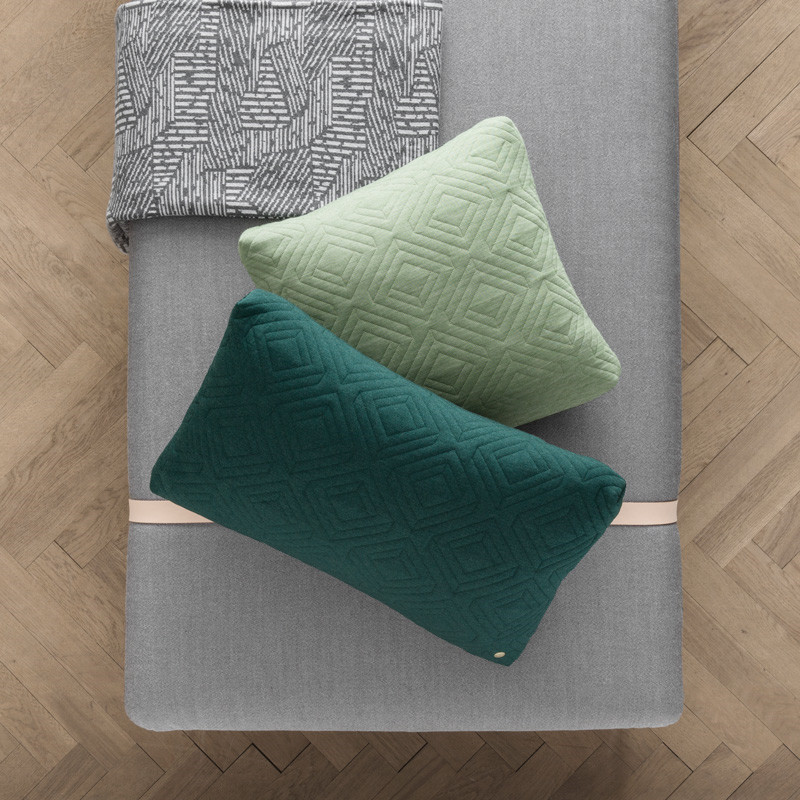 Image of   Ferm Living Quilt Cushion Dark Green 60 x 40