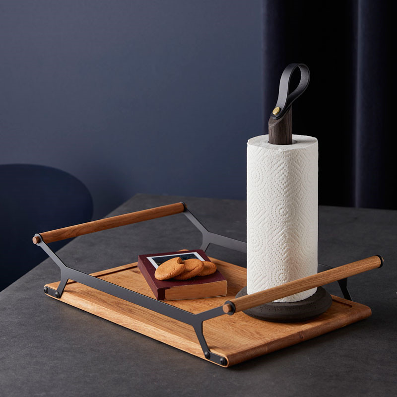 Image of   Gejst GRAB Kitchen Roll Holder Black Oak