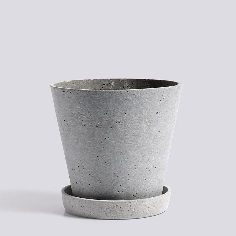 Hay flowerpot with saucer l grey
