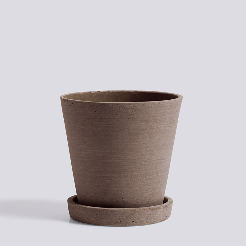 Hay flowerpot with saucer m terracotta