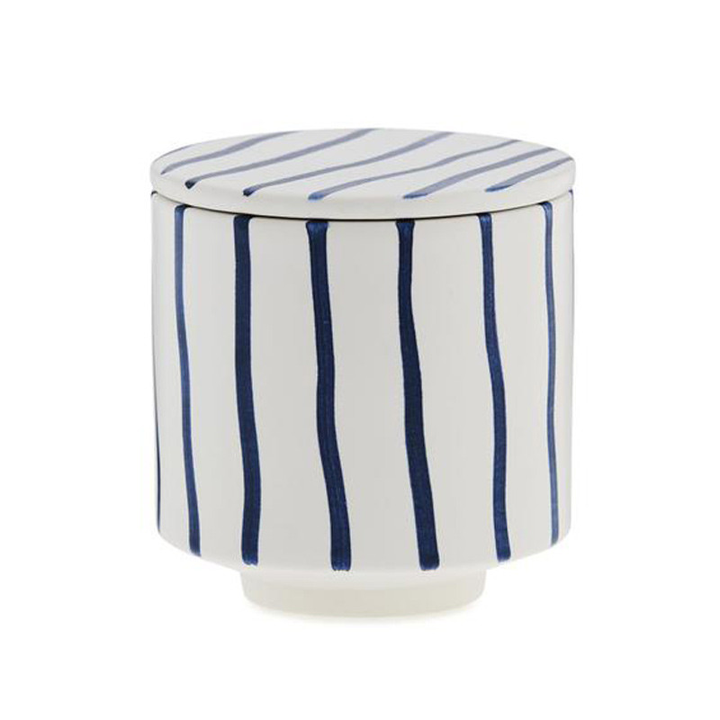 Image of   Ania HANNA Mug With Lid Blue Stripes
