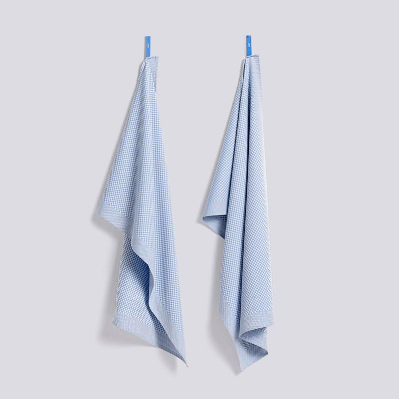 HAY Check Tea Towel Set Light Blue